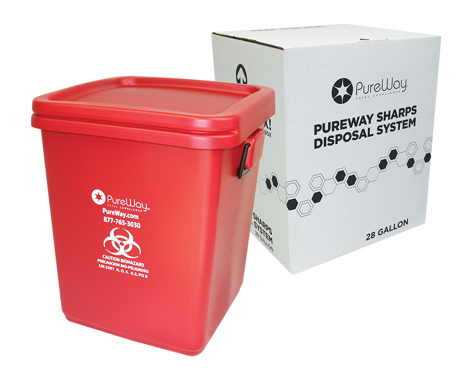 Safe Needle Disposal - Collection Bin 28 Gallon