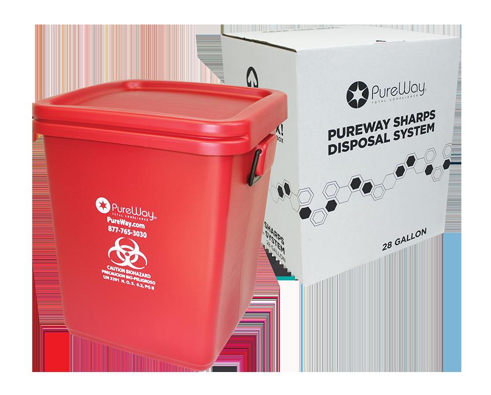 Safe Needle Disposal - Collection Bin 28 Gallon